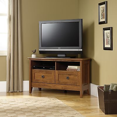 مكتبة تلفزيون جديد Corner TV Stand – Oiled Oak – August Hill Collection (410627)