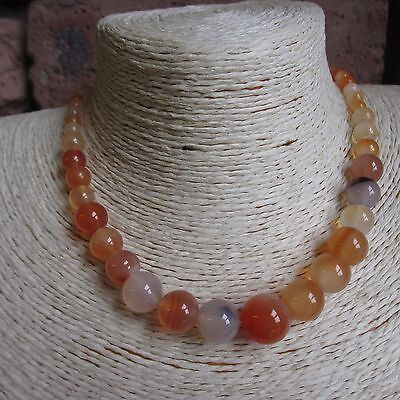 Graduated Agate Gemstone Bead Necklace - Choice of 8 colours - Fast Free Postage