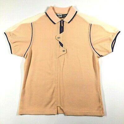 Jamie Sadock Womens S Nylon Peach Golf Polo Zip Shirt Short Sleeve Stretch