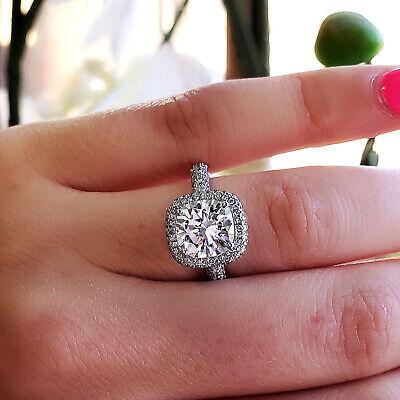 GIA F, VVS1 2.00 Ct Halo Micro Pave Cushion Cut Diamond Engagement Ring 14K WG 1