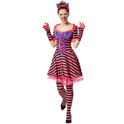 Womens Kitty Party Costume Cat Hot Sexy Halloween Striped Fancy Dress new