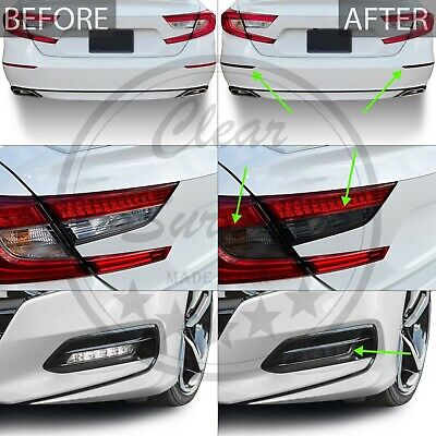 Fits Accord 18-20 Fog Tail Light Reflector Precut Smoke Vinyl Tint Cover Overlay