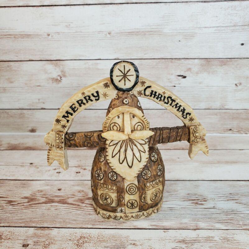 "Whimsical Folk Art Santa Ornament Resin Merry Christmas 4.5"" Caribou Canyon 2007"