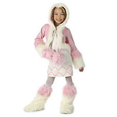 Child Girl's Koko Eskimo Inuit Furry Halloween Costume Dress Boot Cover S M L XL