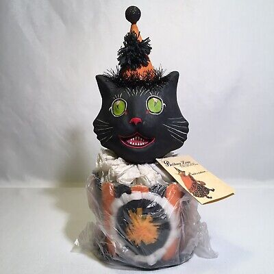 Bethany Lowe Designs Surprised Black Cat Lidded Candy or Trinket Box Paper Mache