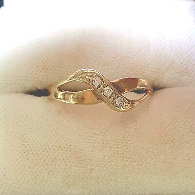 9ct Gold & Diamond Ring Size P Wrap Over Design
