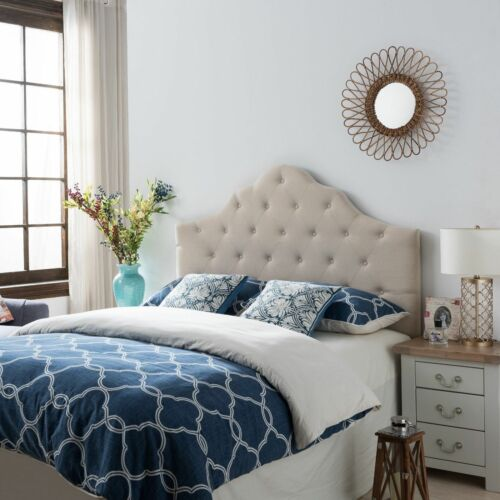 Orlban Contemporary Button Tufted Beige Fabric Queen/Full Headboard Beds & Mattresses