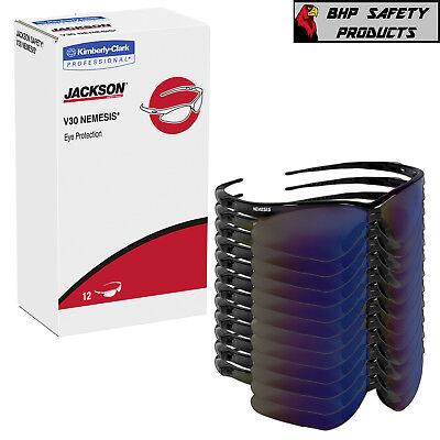 12 Pair Jackson Nemesis 14481 Safety Glasses Black Frameblue Mirror Lens
