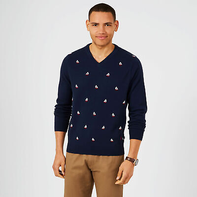Nautica Mens V-Neck Sailboat Motif Sweater