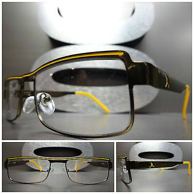 Men's or Women CONTEMPORARY MODERN Clear Lens EYE GLASSES Bronze & Yellow (Yellow Eye Glasses)
