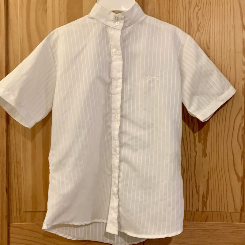 Beaufort Riding Apparel Short Sleeve White Horseback Show Shirt Size Youth 12