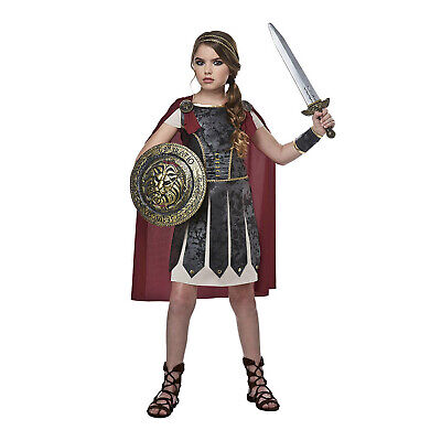 Roman Girl Dress (Kids Girls Gladiator Roman Greek Fighter Warrior Halloween Cosplay Costume)