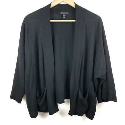 Eileen Fisher Cardigan Sweater L Large XL Open Front Black Linen Blend Ladies B2