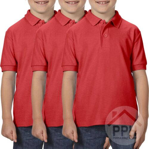 Russell Jerzees 5 Pack Kids Uniforms Childrens Girls Boys Polycotton Polo Shirts Casual School Wear