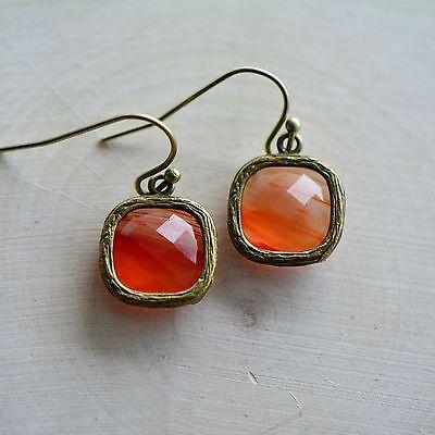 Fire Square Jewel Earrings - Antique Bronze Frame - Transparent Red Orange Glass