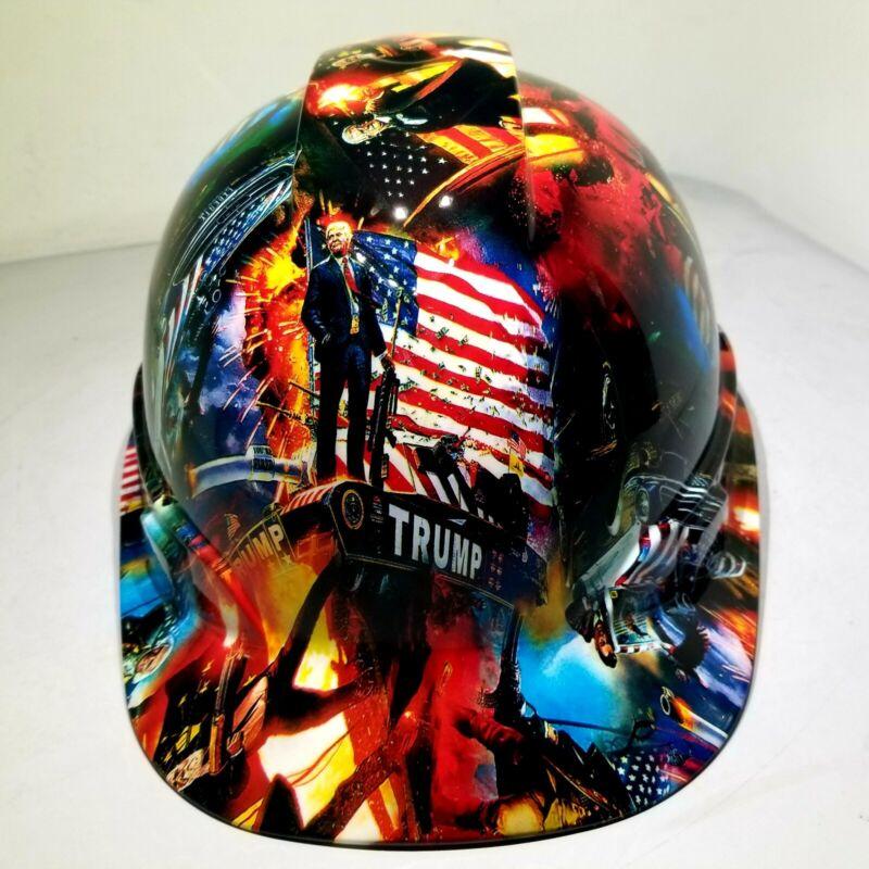 Vented Cap Hard Hat  Custom hydro dipped DONALD TRUMP MAGA  FACTORY APPROVED