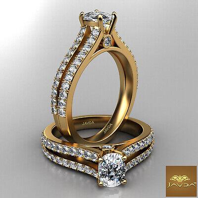 French Setting Split Shank Cushion Cut Diamond Engagement Ring GIA F VS2 1.15Ct