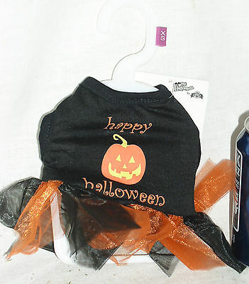 NEW PET DOG HAPPY HALLOWEEN PUMPKIN TUTU SHIRT DRESS COSTUME W/TAGS XSM - Happy Halloween Pumpkin Costume