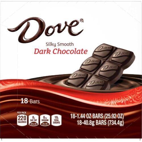 Dove Dark Chocolate Bars, 18-count