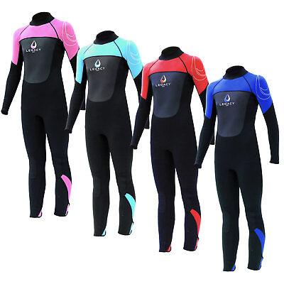 Legacy 3/2mm Boys Girls Childs Kids Junior Full Wetsuit Long Wet Suit Age (2mm Junior Full Wetsuit)
