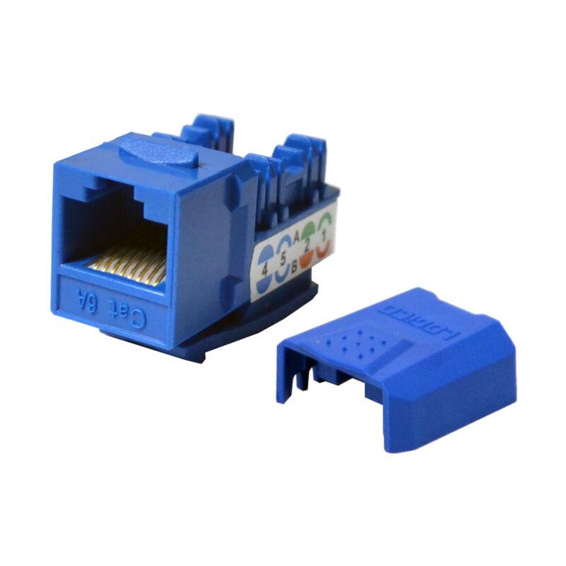 50 pack lot Keystone Jack Cat6a Blue Network Ethernet 110 Punchdown 8P8C