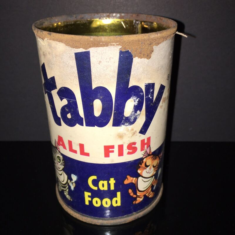 BEST IN SHOW! Tabby 1940s Cat Food Tin Can  Paper Label Pet Shop Country Store