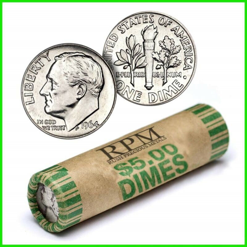 90% Silver Roosevelt Dimes Circulated 50 Coin Roll $5