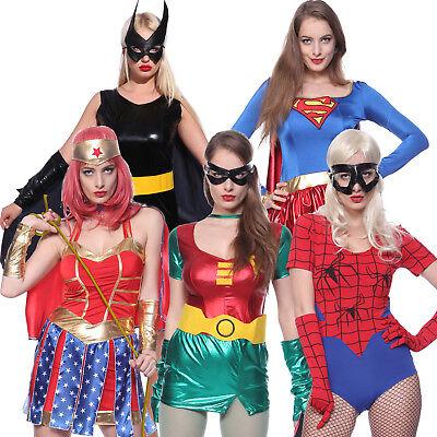 Supergirl Damen-kostüm (Karneval Damen Heldin Supergirl Batgirl Robin Spidergirl Wondergirl Kostüm Kleid)