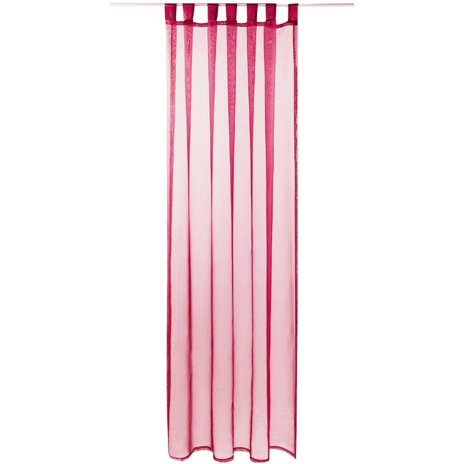 Schlaufenschal Vorhang mit Schlaufen Transparent Voile Uni Gardine große Auswahl pink - fuchsia