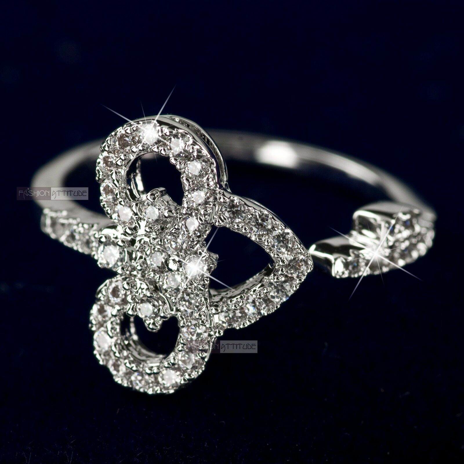 18K White Gold Plated women/'s wedding Ring Simulated Diamond