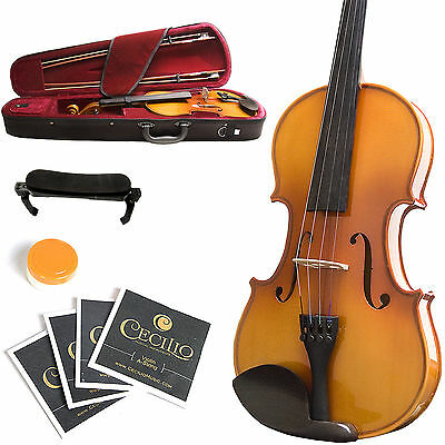 MENDINI FULL SIZE 4/4 EBONY SOLIDWOOD VIOLIN +TUNER+BOOK+SETUP+BOWS