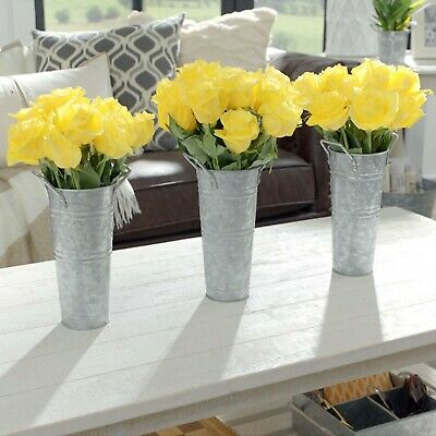 """Walford Home Farmhouse Decor Vases French Flower Bucket 9"""" Set of 3"""