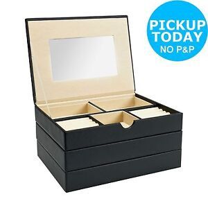 Black Stacking Fully Lined Mirrored Jewellery Box. From the Argos Shop on ebay