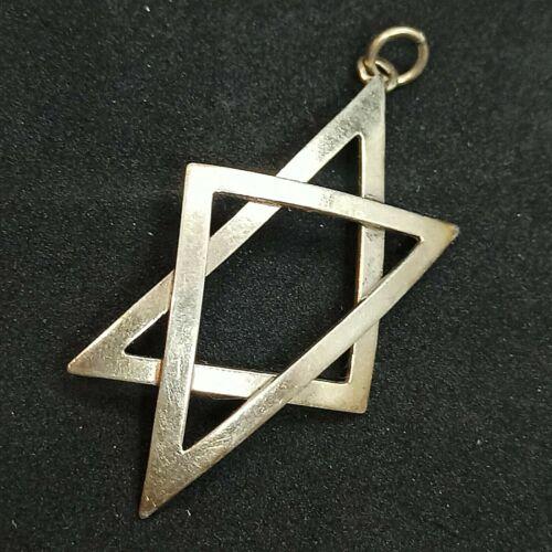 Large Authentic Vintage Star Of David Pendant Sterling 925 Spiritual Symbol Gift