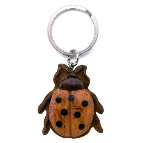 """Wood Intarsia Ladybug Keychain Key Ring Handcrafted 2"""" Long New!"""
