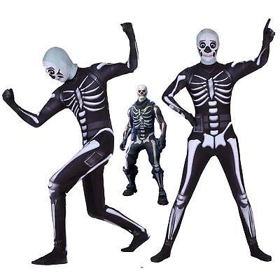 Halloween Kids&Adult Costume Skull Trooper Skin Outfit Cosplay Costume New (Skin Costume Kids)
