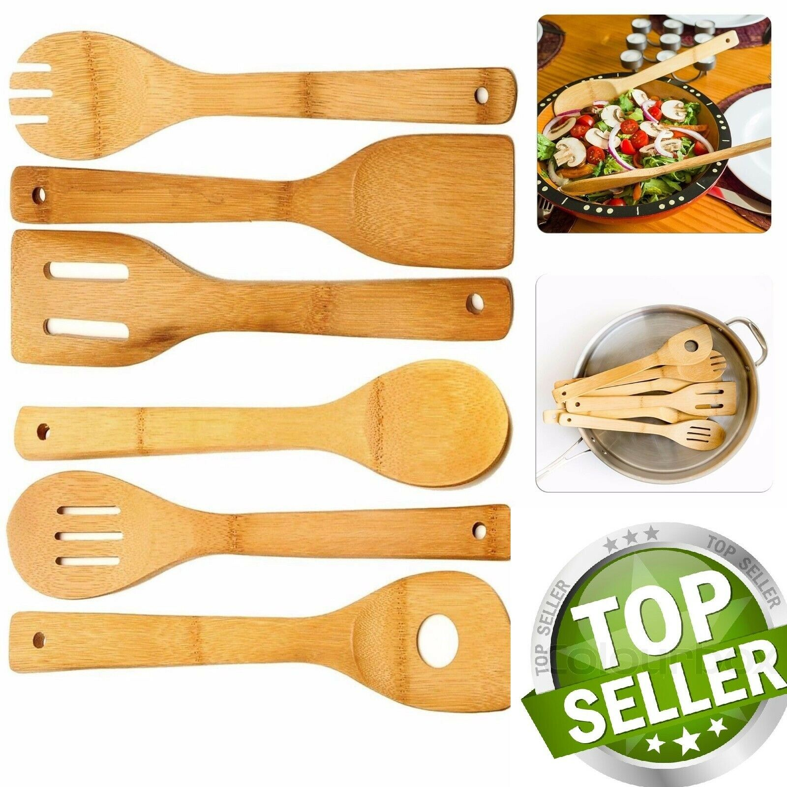 6 Piece Wooden Cooking Utensil Set Bamboo Kitchen Spatula Spoons Tools Wood Kit Cooking Utensils