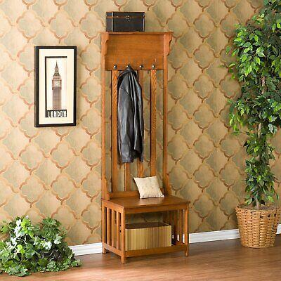 Hall Tree Coat Rack Entryway Bench Storage Hook Organizer Wood Bedroom Furniture