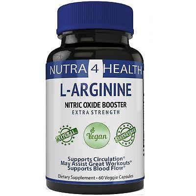 L-Arginine 1200mg 60 Capsules - Cardio Heart Supplements   Nitric Oxide Boost...