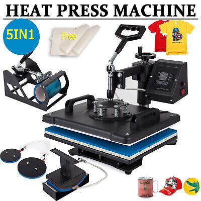 5in1 Combo T-shirt Heat Press Transfer 15x12 Printing Machine Swing Away