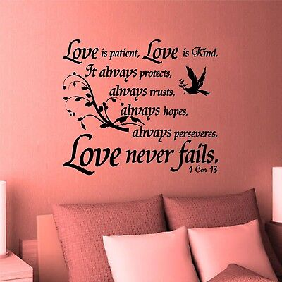 Love Is Patience (Wall Decal. Bible Scripture 1 Corinthians 13:4 Love is Patience Kind Never)