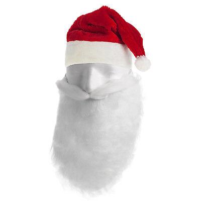 Nikolaus Bart Weihnachtsmannbart mit Nikolaus Mütze Weihnachtsmannmütze Set