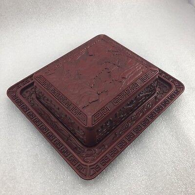 JJ31 Asian Red Cinnabar trinket Box 4 7/8