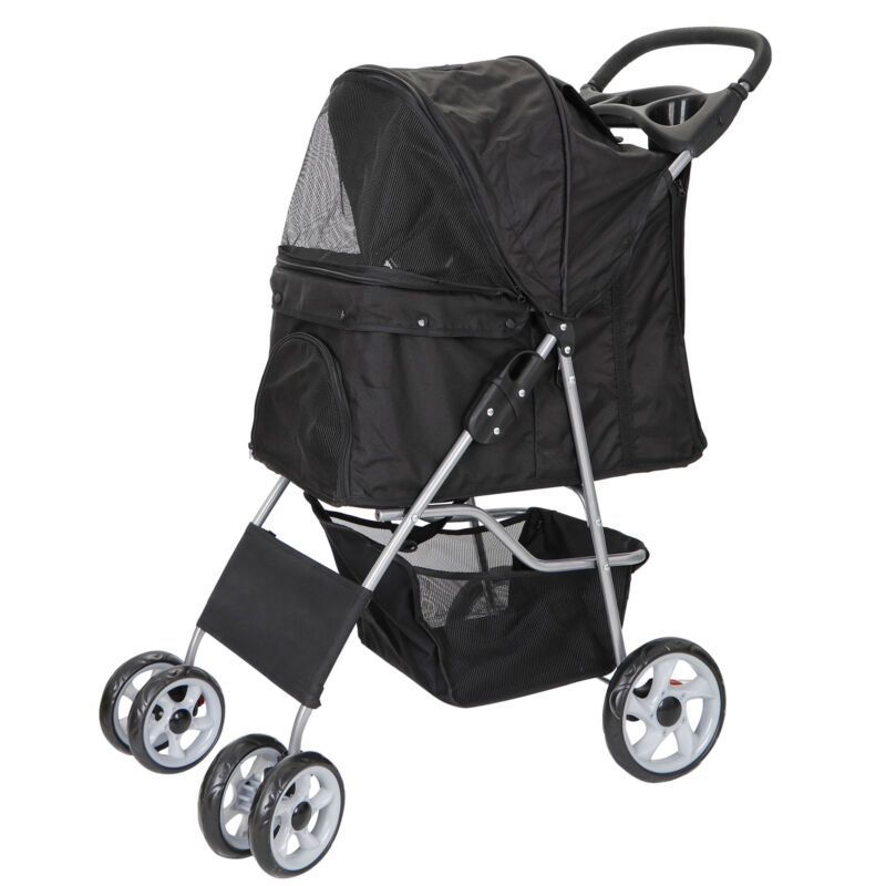 Dog Cat Stroller Cat Walk Folding Travel Cart for Small Medium Pets Foldable