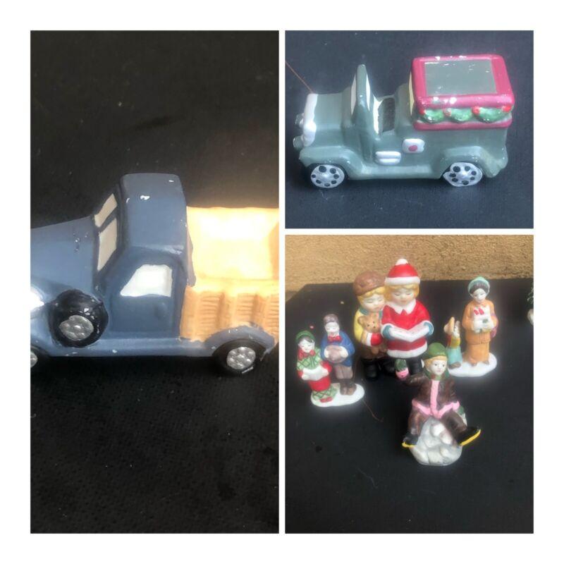 Lot of 10 Dept 56 Snow Village Christmas Caroling Ceramic Figurines People Truck