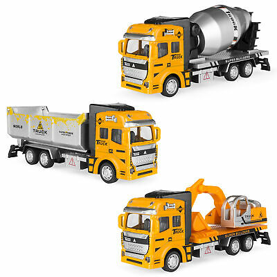 BCP Set of 3 Friction-Powered Toy Construction Trucks - Yellow - Construction Toy Set