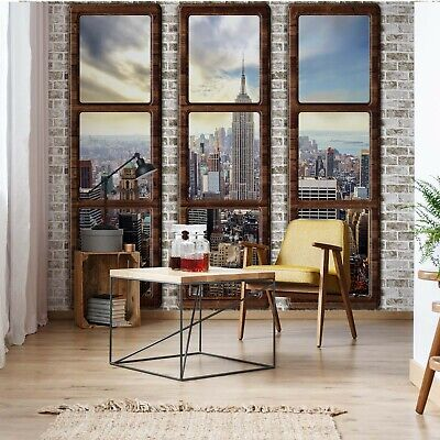 New York City Penthouse Window Wallpaper Wall Mural Fleece Easy-Install Paper