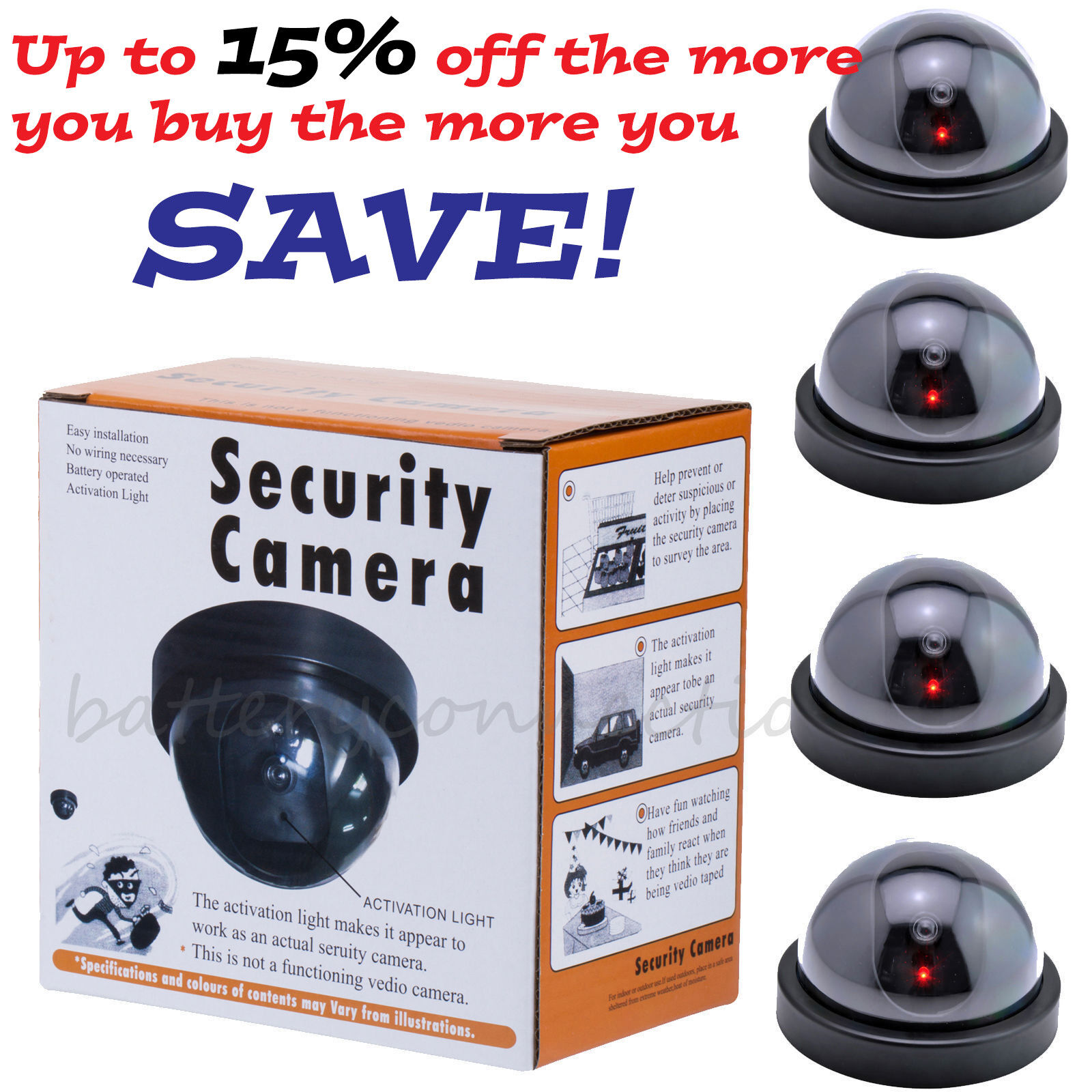 4 Fake Dummy Dome Surveillance Security Camera with LED Sensor Light Consumer Electronics
