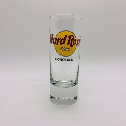 Hard Rock Cafe HONOLULU Hawaii Tall Shot Glass Black Double Circle & Letters