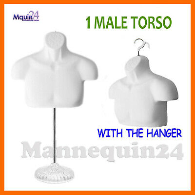 One Mannequin Male Torso W Acrylic Stand Hanger -white Men Chest Dress Form